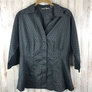 Soft Surroundings Swiss Dot  Army Green Button Top